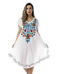 Riviera Sun Rayon Crepe Short Sleeve Dress with Multicolored Embroidery