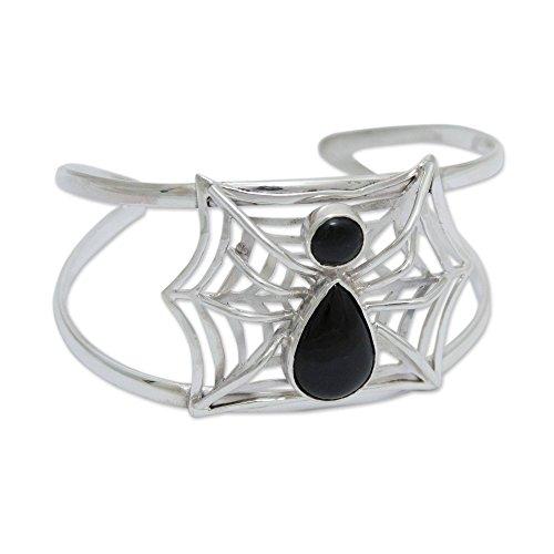 - NOVICA Obsidian .925 Sterling Silver Cuff Bracelet 'Busy Spider'