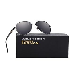 LUOMON MB209 Grey Frame/Grey Lens Polarized Aviator Sunglasses