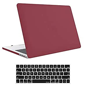 """MacBook Pro 15 Case A1707, Hard Case Shell Cover and Keyboard Cover for Apple Macbook Pro 15"""" (Newest 2017 & 2016 Release) with Touch Bar and Touch ID -Burgundy Red [saf]"""