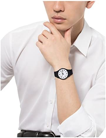 Swatch Classic Quartz Silicone Strap, Black, 20 Casual Watch (Model: SUOB705)
