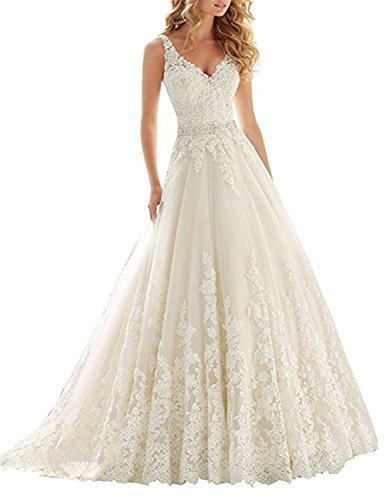 ABaowedding Women's Lace V Neck Long Wedding Dress Beaded Appliques Straps Bridal Gown US 22W ()