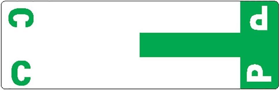 Smead AlphaZ NCC Color-Coded Labels, Letters C&P, Dark Green, 100 Labels per Pack (67154)