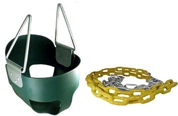 Toddler Full Bucket Swing in Green 66 Plastisol Coated Chains