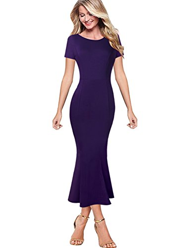 VfEmage Womens Elegant Vintage Cocktail Party Mermaid Midi Mid-Calf Dress 9579 PUP - Purple Guest Dress Wedding