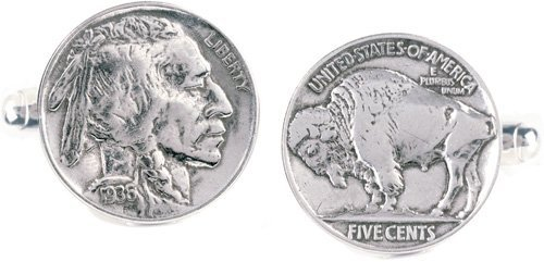 Buffalo Nickel Cufflinks Set