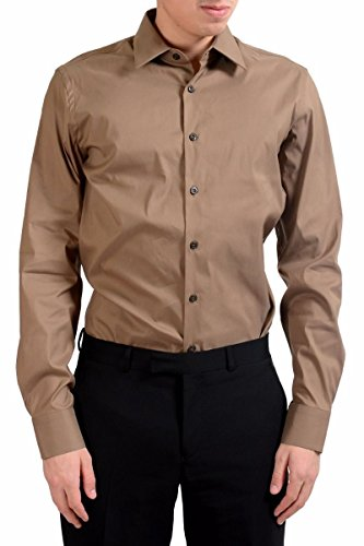 Prada Long Sleeve Dress Shirt - Prada Men's Brown Long Sleeve Dress Shirt Size US 15.5 IT 39