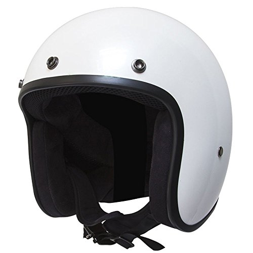 Voss 501 Bobber Pearl White Low Profile DOT Fiberglass Open Face Helmet with Metal Quick Release Ultra Thin Small Lightweight Shell - S - Pearl White ()