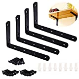 MINCOO 4Pcs Stainless Steel Heavy Duty L-Shaped Right Angle Corner Brace Joint Angle Bracket Shelf Bracket Wall Hanging with Screws Decorative Corner Brackets 125mmX75mm/5X3Inch,Black