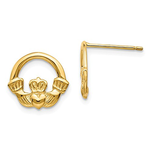 (14K Yellow Gold Claddagh Post Earrings)