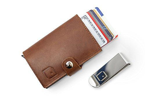 Mens Genuine Leather Wallet RFID Safe | Automatic Pop-Up Case | 6 Credit Card Holder | Slim (Brown)