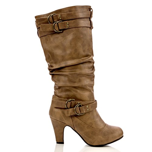 Charles Albert Women's River Mid-Calf Heeled Boot in Brown Size: 7 (Sexy Womens Boots)