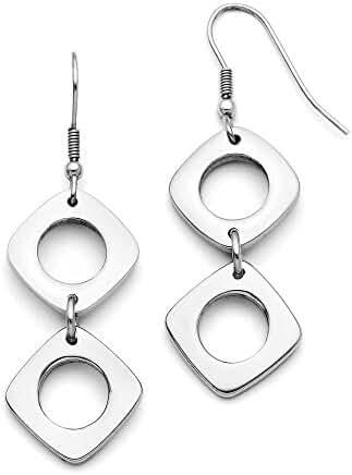 Chisel Stainless Steel Square Shepherd Hook Dangle Polished Earrings