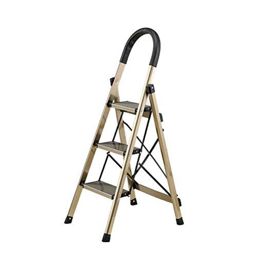 Step Stool Wooden- Taburete Plegable portatil del Paso del Metal de la Escalera de Las escaleras de Tijeras con la barandilla, Capacidad maxima 150KG Welcome (Tamano : 43X60X118CM)