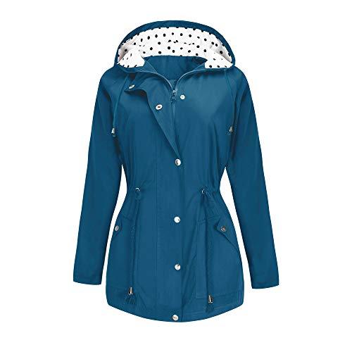 BBX Lephsnt Rain Jacket Waterproof Active Outdoor Hooded Women's Trench Coats Cobalt Blue ()