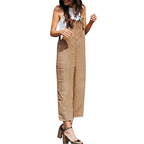Thenxin Womens Casual Jumpsuits Overalls Solid Color Baggy Bib Pants Plus Size Wide Leg Rompers (Khaki,XXXL)
