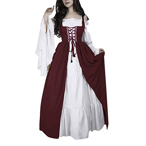 - QueenMM  Women's Boho Set Renaissance Medieval Irish Costume Chemise and Over Dress Wine