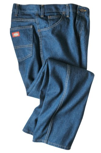 Dickies Occupational Workwear 40x36 Denim Cotton Regular Fit Men#039s Industrial Jean with Straight Leg 40quot Waist Size 36quot Inseam Indigo Blue