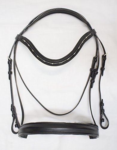 - Delfina Dressage Bridle BLACK with Dutch Drop Browband French Crank Cavesson Black, Oversize