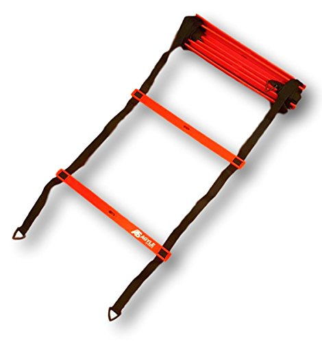 Agyle Sports Agility Ladder Bundle, includes Drills Book and Carry Case, 15ft long, 11 Rung
