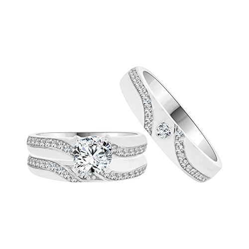 14k White Gold, Trio 3 Piece Wedding Ring Set Round Created CZ Crystals 1.0ct by GiveMeGold