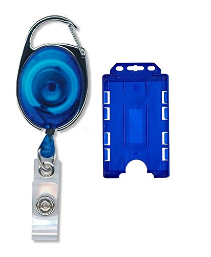 generic 1pcs id badge card holder oval pulley retractable reel blue - Id Card Holder