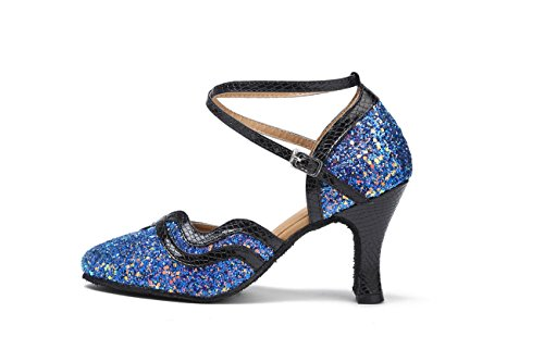 Latin Flared Heel Pumps 8cm Blue International Synthetic Girls Miyoopark Prom Dance Ladies Heel Wedding Shoes PSW6Xcgq4n