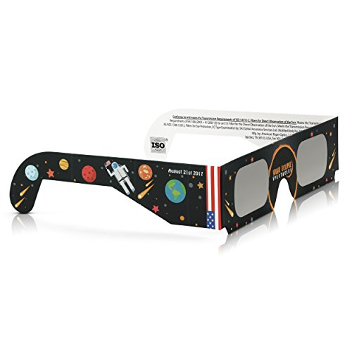 Solar Eclipse Glasses CE and ISO Certified - Safe Solar Viewing - Viewer and Filter - Made in USA (6 Pack) - (Violet The Clown)