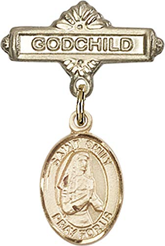 14kt Gold Baby Badge with St. Emily de Vialar Charm and Godchild Badge Pin St. Emily de Vialar is the Patron Saint of Single Laywomen 1 X 5/8