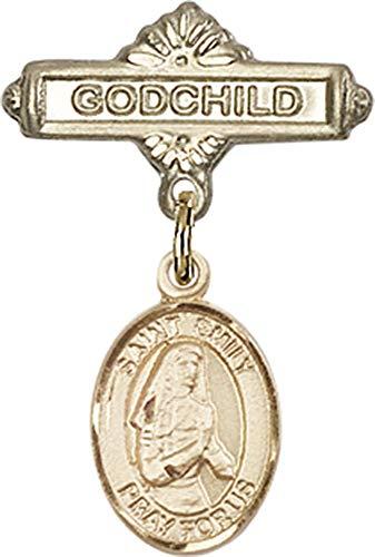14kt Gold Baby Badge with St. Emily de Vialar Charm and Godchild Badge Pin St. Emily de Vialar is the Patron Saint of Single Laywomen 1 X 5/8 (Saint Emily De Vialar Patron Saint Of)