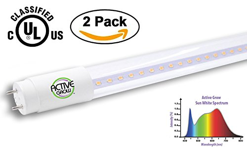 Active Grow T8/T12 High Output 4FT LED Grow Light Tube for Germination, Microgreens & Tissue Culture - 22 Watts - Sun White Full Spectrum (High CRI 95) - Direct Wire 120-277V - UL Marked (2-PACK)