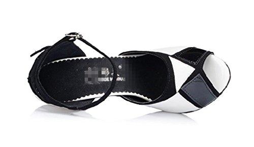 De Zapatos Negro Tobillo De Tacón Salón Gamuza Wgwioo De Alto Blanco C Hebilla Piel Correa Baile De Salsa Mujer Latina Sandalias Clásica Tango De De 0pqgFwd
