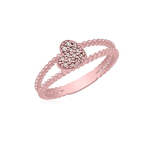 14k Beaded Heart (UNICORNJ 14K Rose Gold Double Band Beaded Ring with Pave CZ Heart Accent Italy)