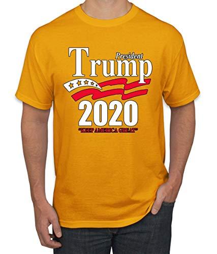 Trump 2020 Shirt Keep America Great T-Shirt Reelect President Donald Trump Mens Womens Non-PC Tee, Gold, ()