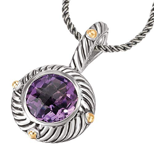 925 Silver & Amethyst Round Swirl Pendant with 18k Gold Accents - Element Jewelry Purple Pendant