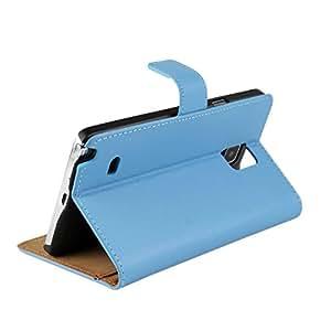 Foxnovo PU Flip sostenedor de tarjetas cuero funda Protector de piel para Samsung Galaxy Nota 4 N9100 cielo azul