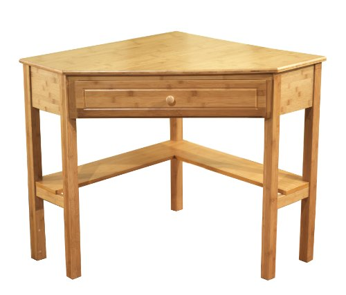 Natural Finish Desk (Target Marketing Systems Bamboo Corner Desk with One Drawer and One Storage Shelf, Natural Finish)