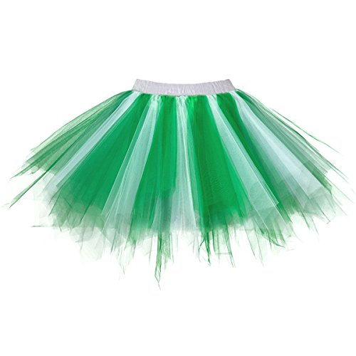 Topdress Women's 1950s Vintage Tutu Petticoat Ballet Bubble Skirt (26 Colors) Green White L/XL