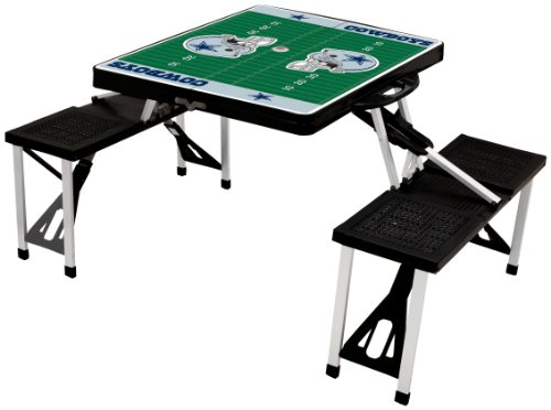 - NFL Dallas Cowboys Football Field Design Portable Folding Table/Seats, Black