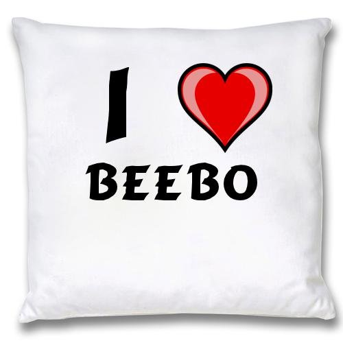 White Cushion Cover with I Love Beebo (first name/surname/nickname)