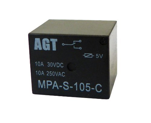 Coil Relay Resistance (AGT 5V DC 5-Pin Coil SPDT Power Electromagnetic Relay 10A 250VAC PCB SSR Type (Pack of 10))