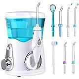 YASI 口腔洗浄器 ジェットウォッシャー 家庭用 水流強さ調整可能 容量600ml 電動式 8本替えノズル 口臭防止 ブルー YASI832