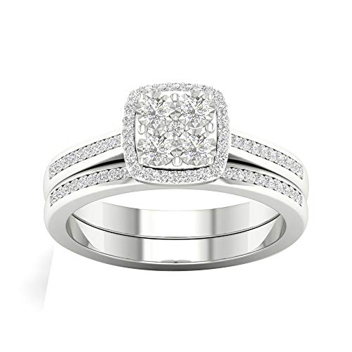 1/4cttw Diamond Engagement Ring and Wedding Band Bridal Set Sterling Silver (Color H-I, Clarity I2) Gifts for Couple Gift for Valentines Day
