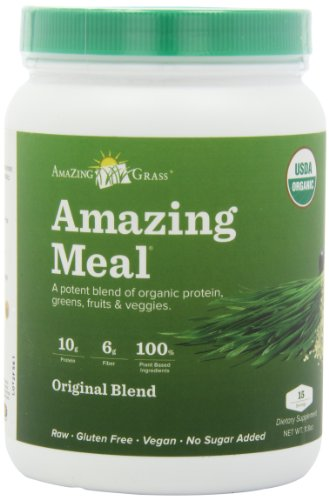 Amazing Grass Amazing Meal Powder, Organic Original Blend, Gluten Free, 15 Servings, 11.8 Ounce Container, Health Care Stuffs