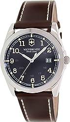 Victorinox Swiss Army Infantry Black Dial SS Leather Quartz Men's Watch 241563