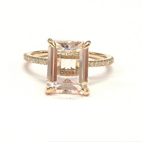 Emerald Cut Morganite Engagement Ring Pave Diamond Wedding 14K Rose Gold 8x10mm