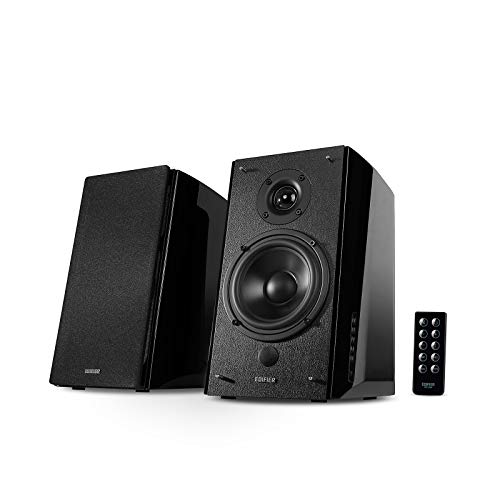 Edifier R2000DB Powered Bluetooth Bookshelf Speakers - Near-Field Studio Monitors - Optical Input - 120 Watts RMS - Black (Bluetooth Speaker Shelf)