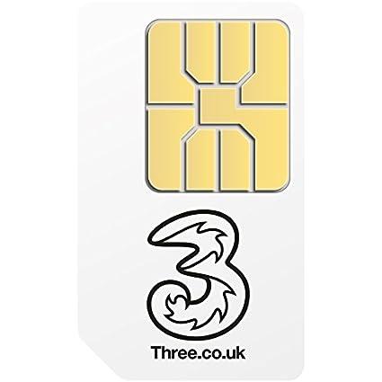 Three Mobile - Tarjeta de datos SIM estándar precargada con 1GB para dispositivos móviles 3G