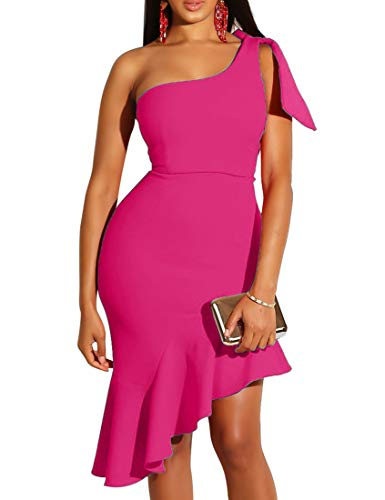 (Mokoru Women's Sexy One Shoulder Sleeveless Ruffle Bodycon Midi Club Party Dress, X-Large, Rose)