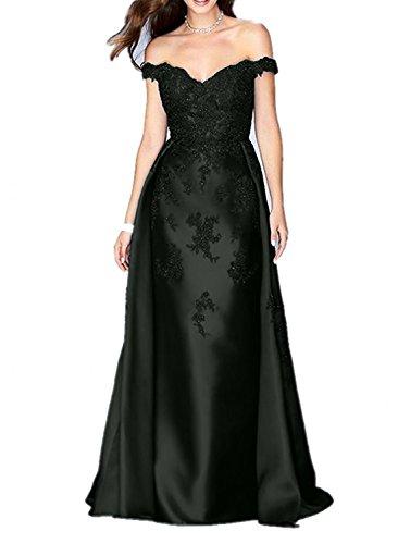 V Ausschnitt Glamout Partykleider Schwarz Etuikleider Charmant Damen Spitze Lang Promkleider Abendkleider xSq5w5Itn1